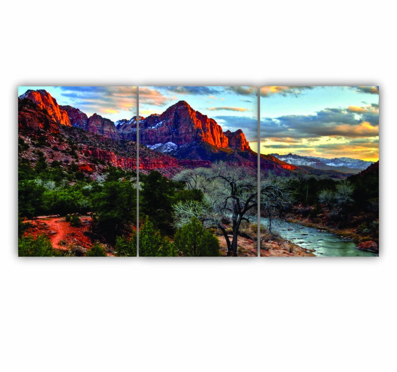 Quadro Montanhas Vermelhas Cores Vibrantes - Kit 3 telas