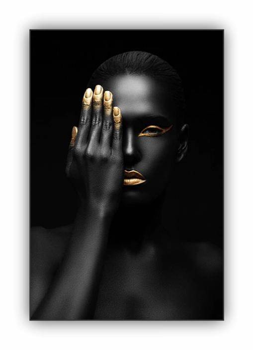 Quadro Mulher Black and Gold Face - Tela Única
