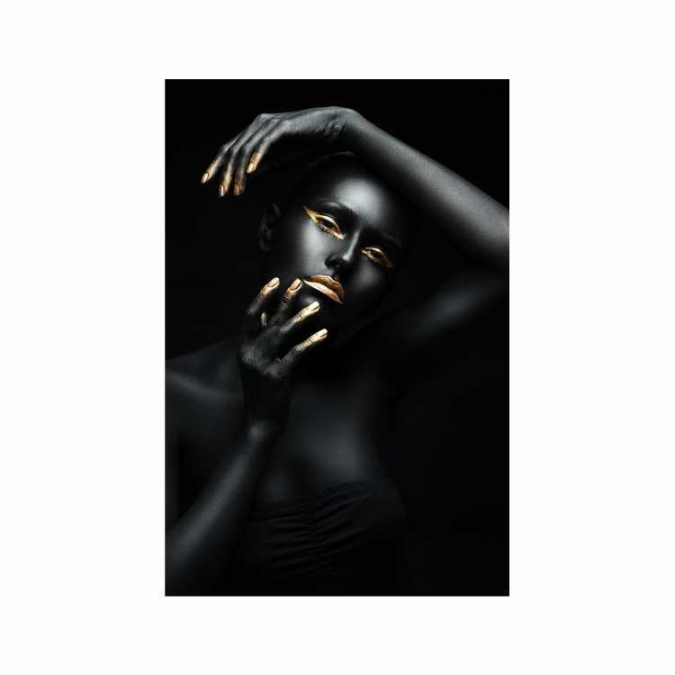 Quadro Mulher Black and Gold Suspense - Tela Única