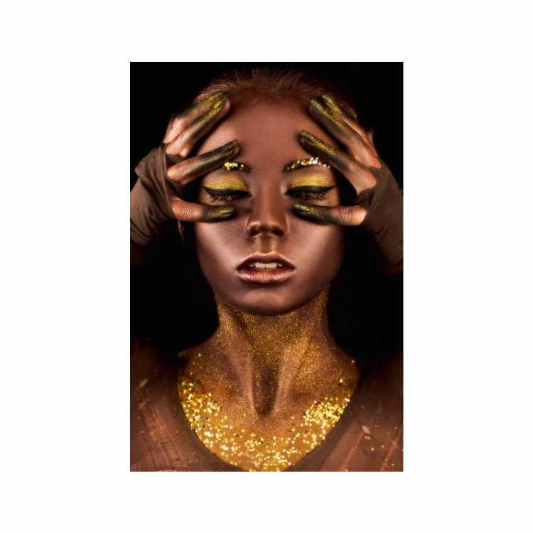 Quadro Mulher Black Cobre Ouro Dourado - Tela Única