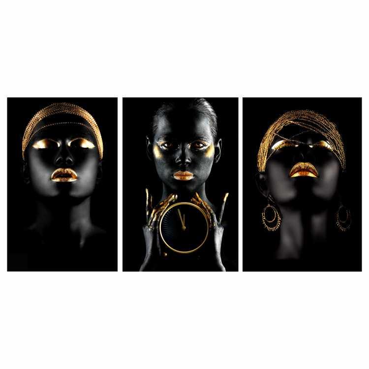 Quadro Mulher Black Face Preto e Dourado - Kit 3 telas