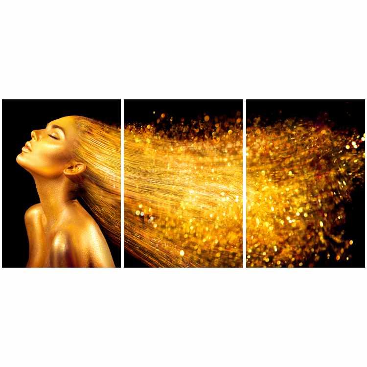 Quadro Mulher Cabelo Ouro Preto e Dourado  - Kit 3 telas