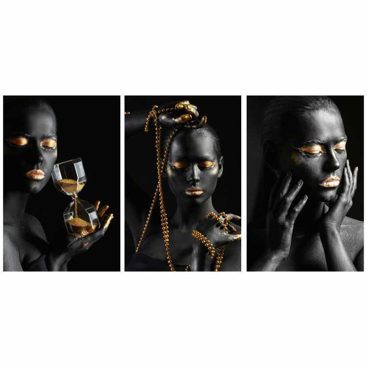 Quadro Mulher Empoderada Black and Gold Preto e Dourado - Kit 3 telas