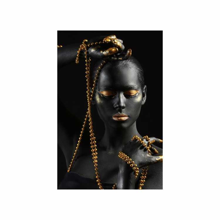 Quadro Mulher Empoderada Preto e Dourado 2  - Tela Única