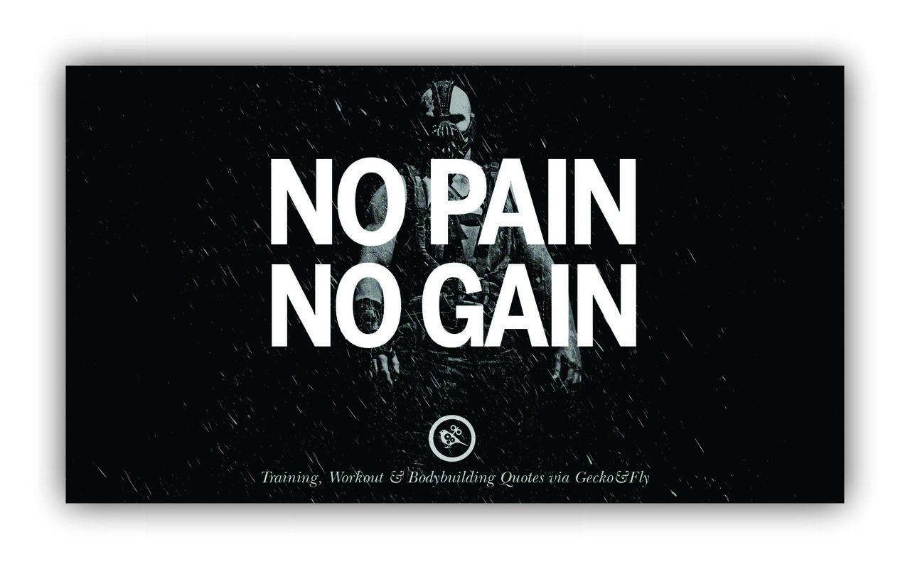 Quadro No Pain No Gain Musculação - Tela Única