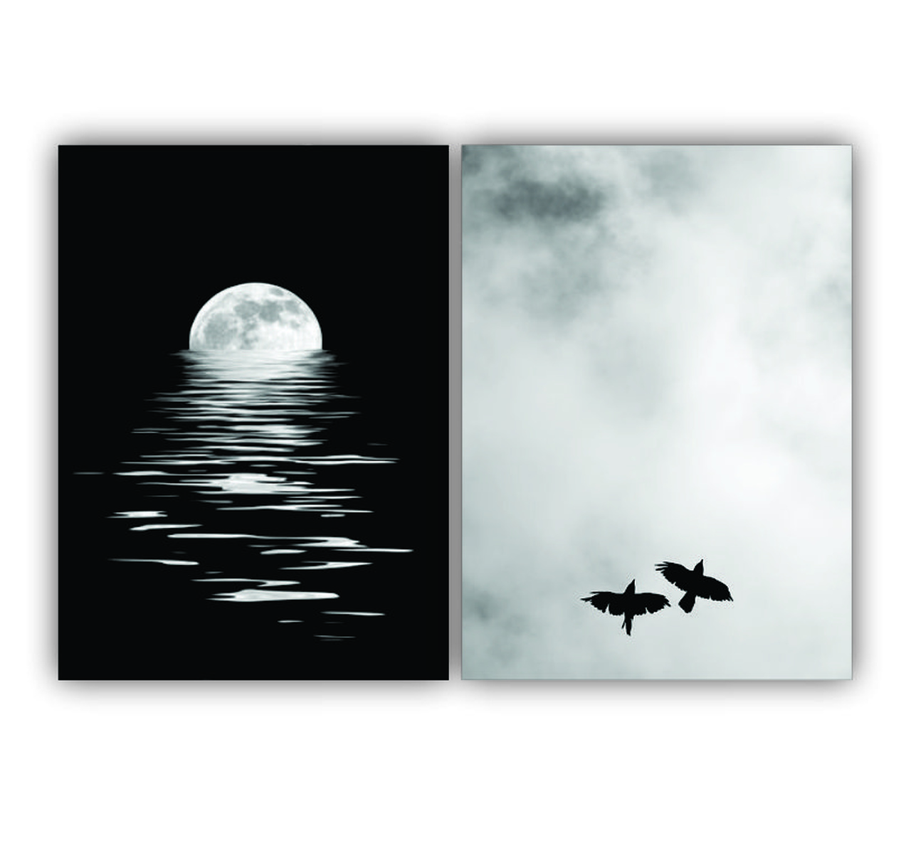 Quadro  Noite de Luar Pássaros -  Kit 2 telas