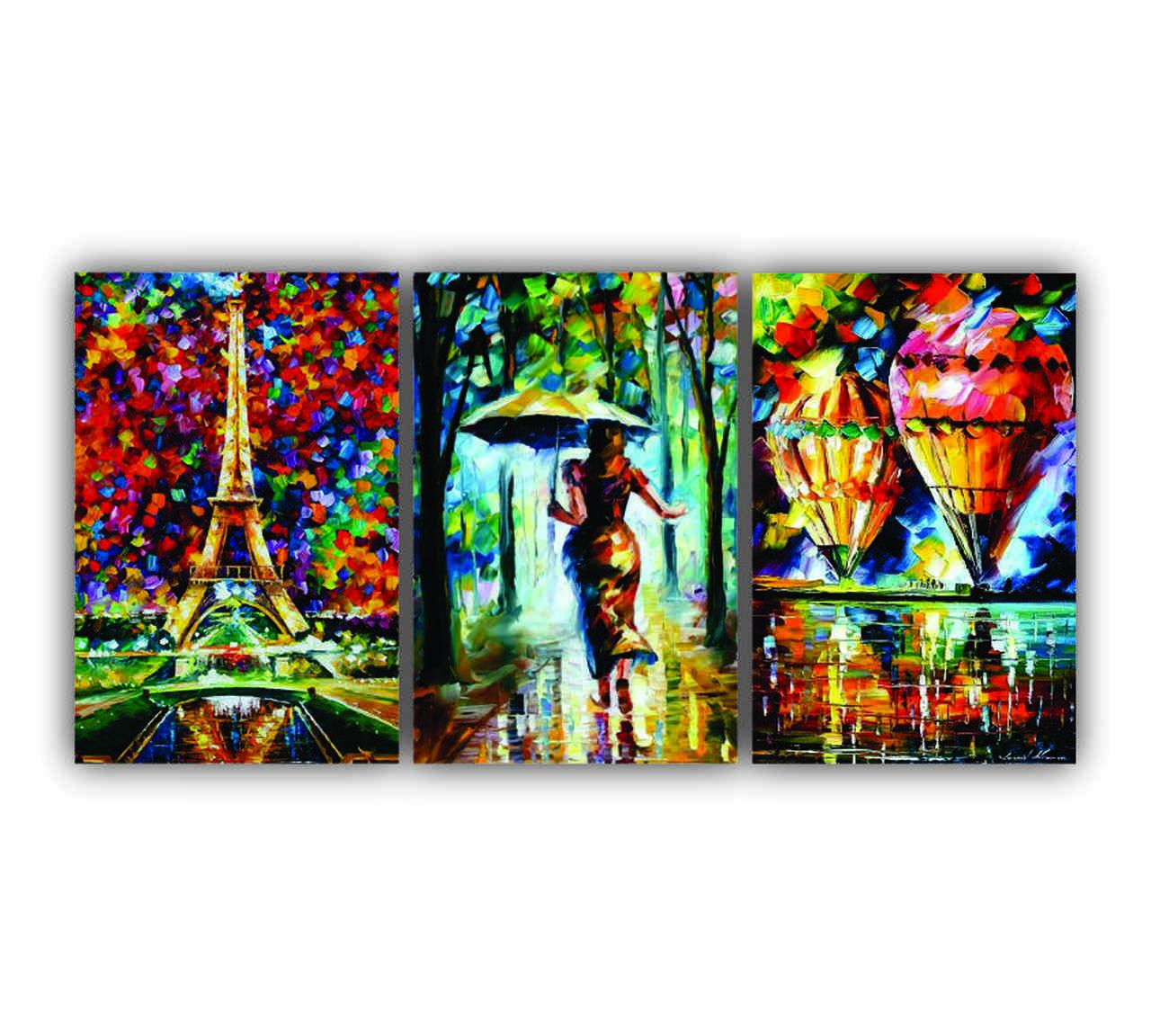 Quadro O Amor em Paisagens Pintura - Kit 3 telas