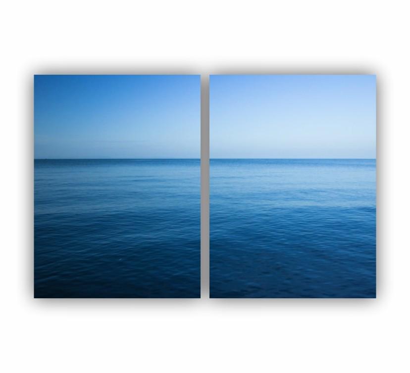 Quadro Oceano Calmaria Cor Pastel -  Kit 2 telas