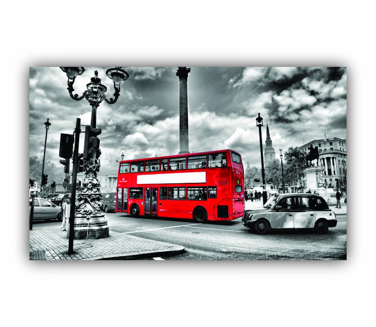 Quadro Ônibus Vermelho Londres Preto e Branco - Tela Única