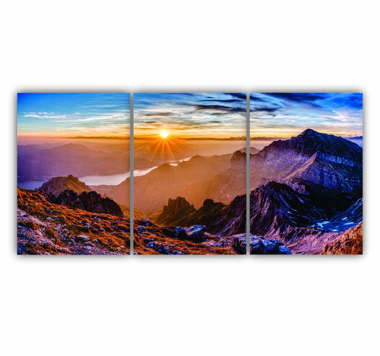 Quadro Paisagem Montanha Ensolarada - Kit 3 telas