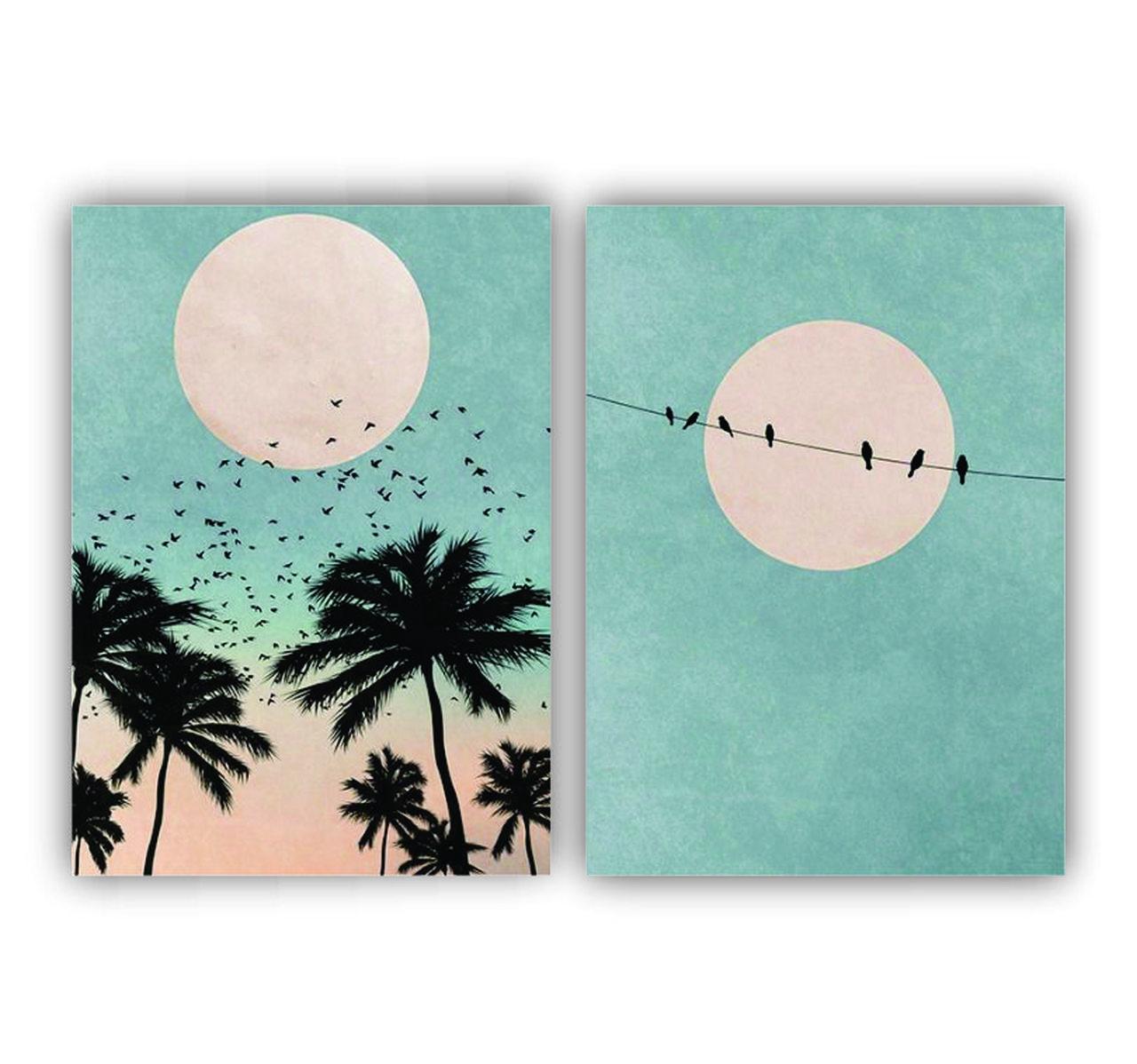Quadro  Paisagem Pôr do Sol Lua e Pássaros-  Kit 2 telas
