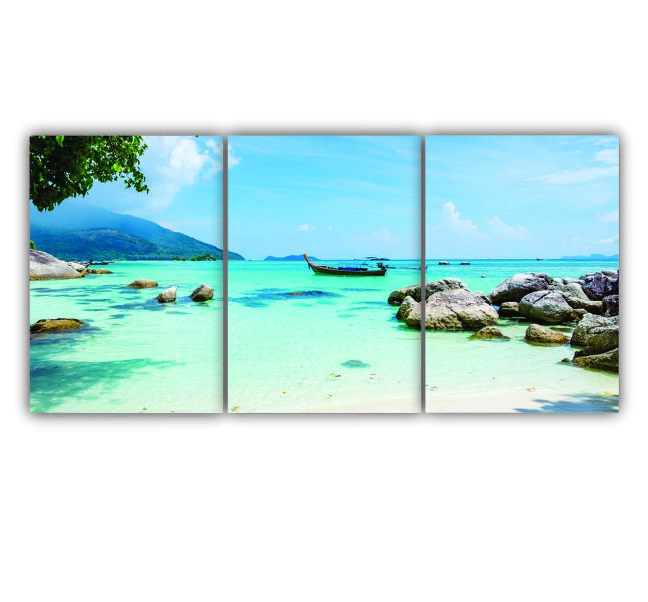 Quadro Paisagem Praia Deserta - Kit 3 telas