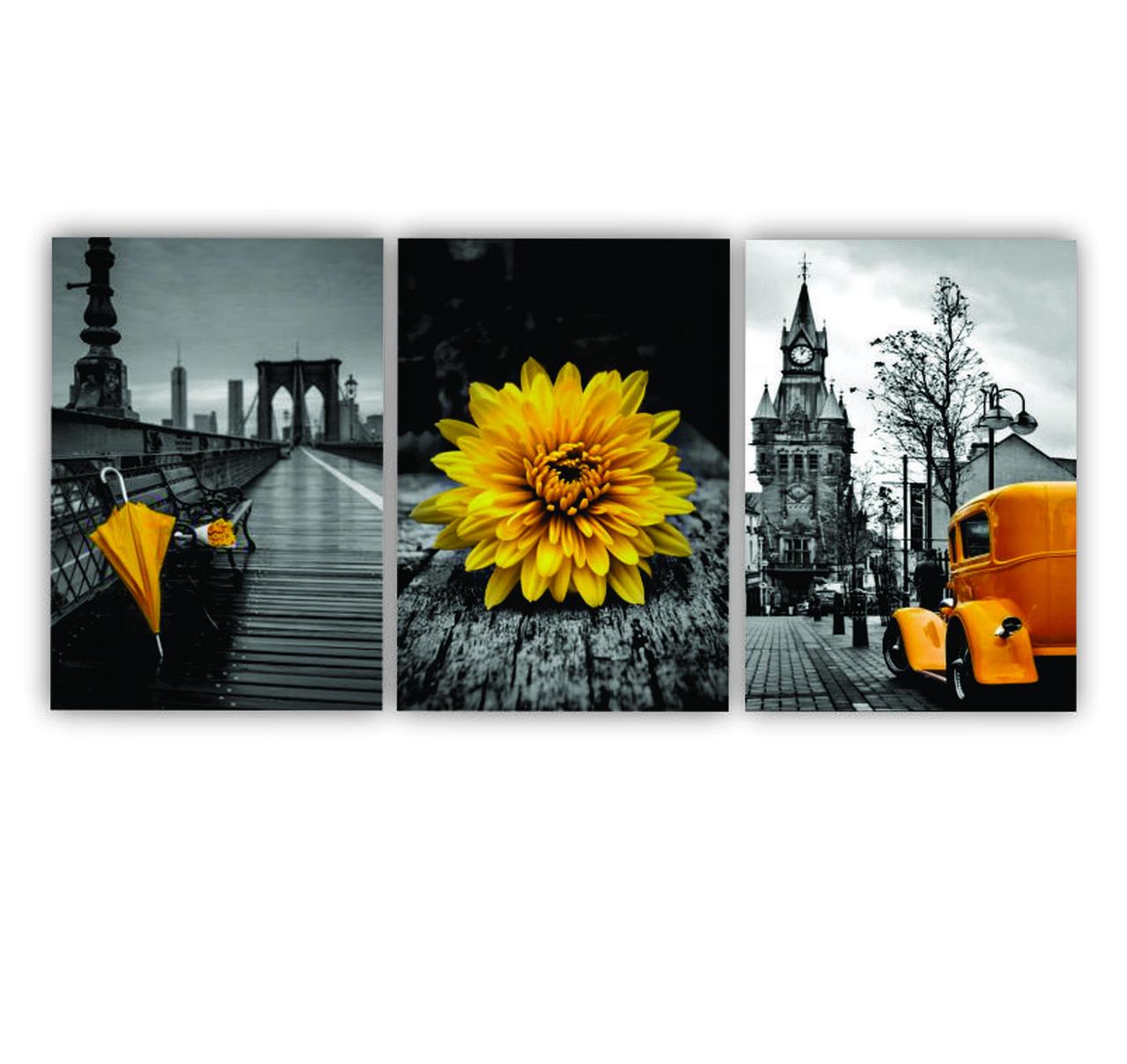 Quadro Pontos Turísticos Preto Branco e Amarelo - Kit 3 telas