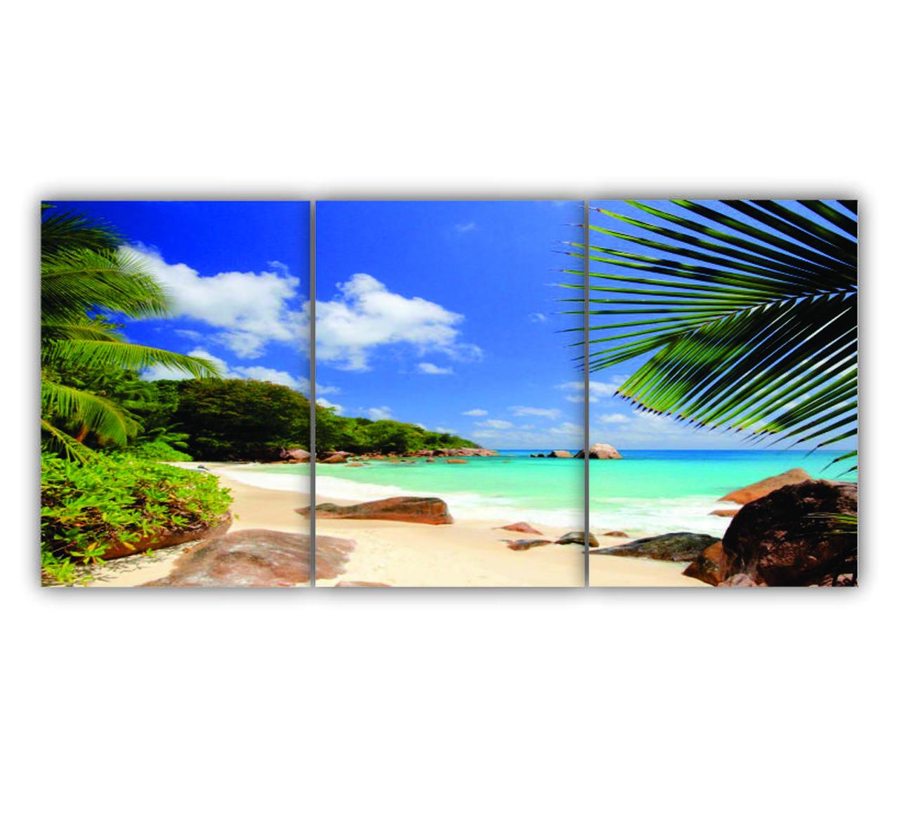 Quadro Praia Deserta Cores Tropicais - Kit 3 telas