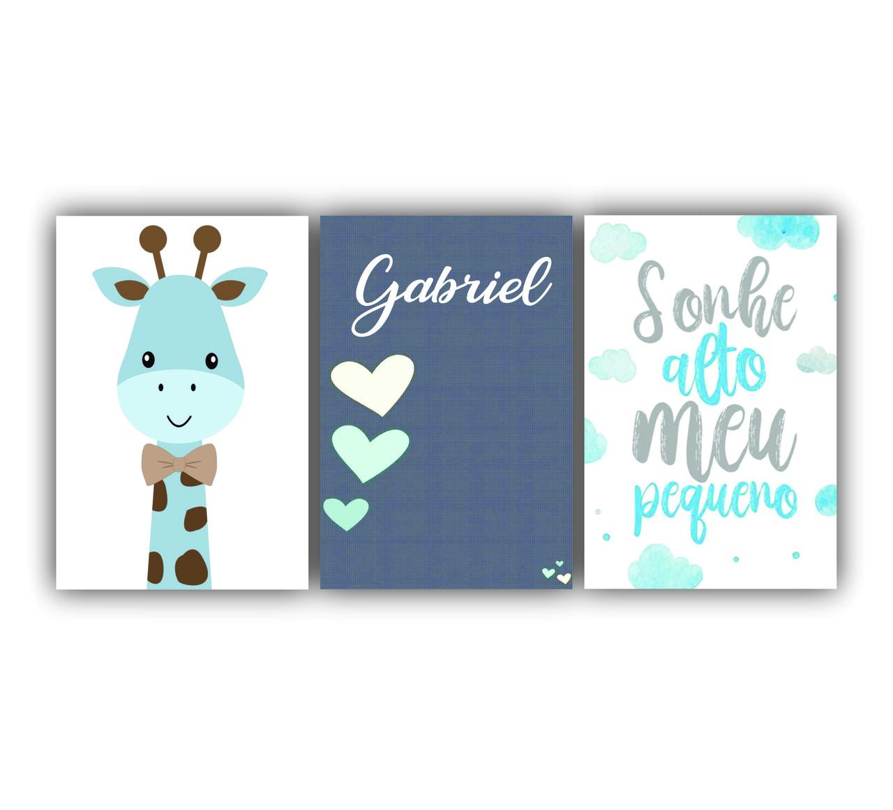 Quadro Sonhe Alto Menino Azul com Girafinha - Kit 3 telas