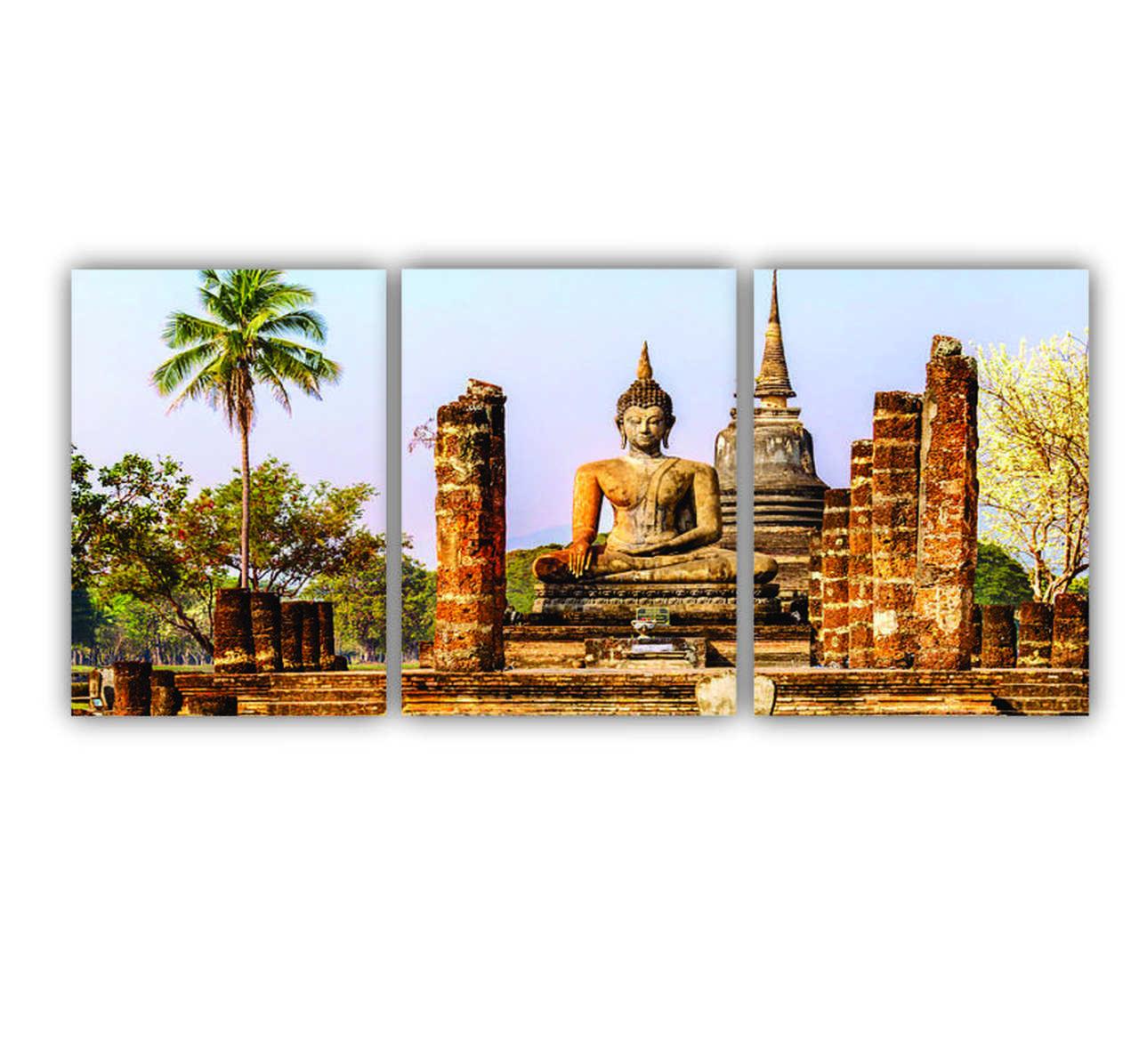 Quadro Templo Budá - Kit 3 telas