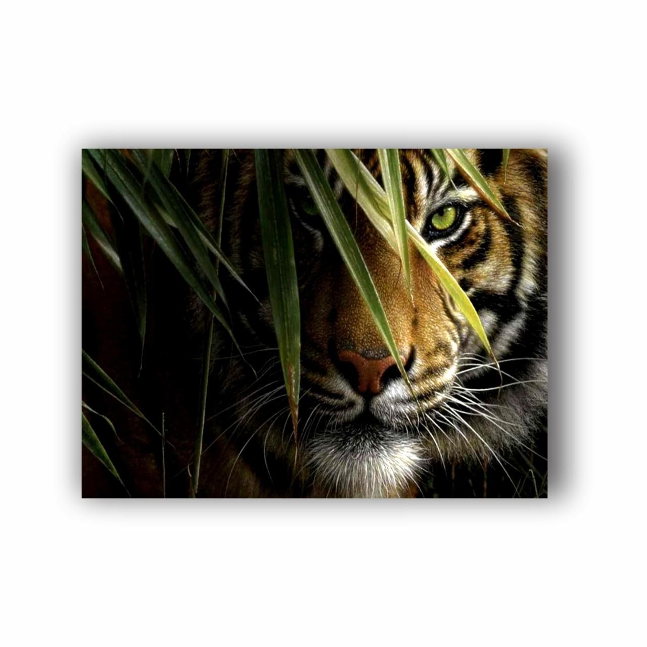 Quadro Tigre Natureza Folhas - Tela Única