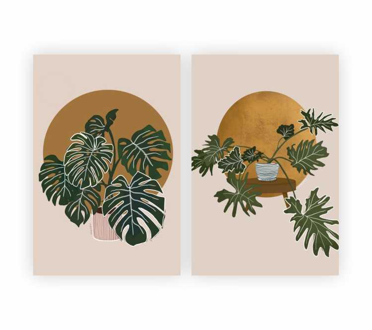 Quadro Tropical Natureza Folhas - Kit 2 telas