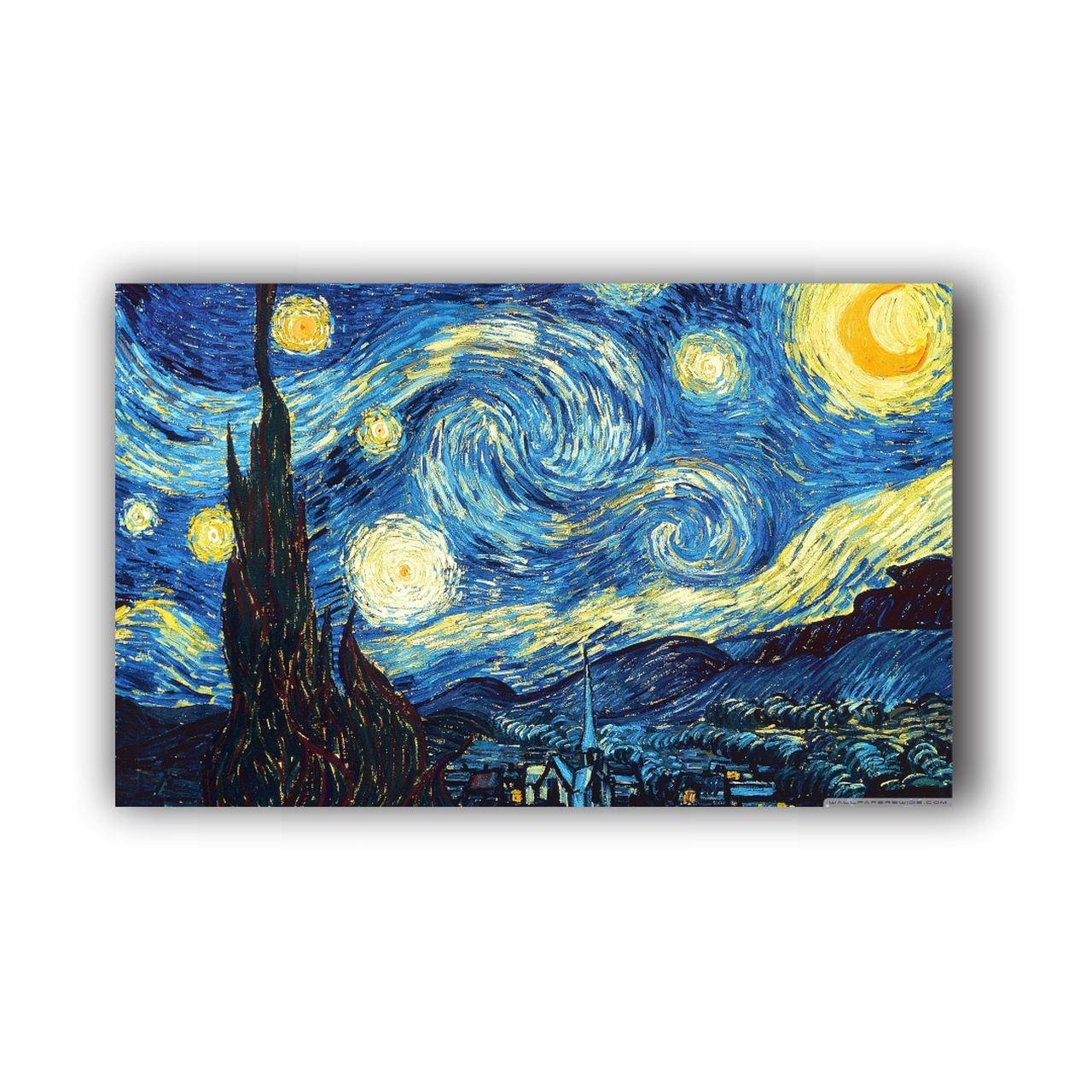 Quadro Van Gogh Noite Estrelada - Tela Única