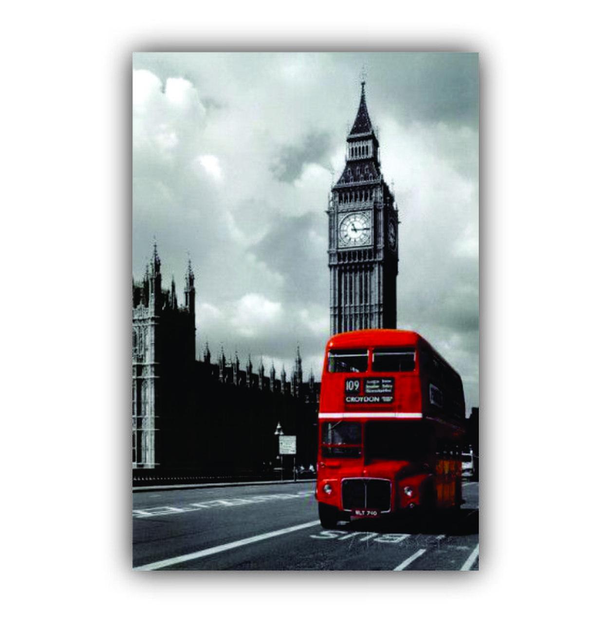 Quadro Vertical Relógio Londres Ônibus Vermelho - Tela Única