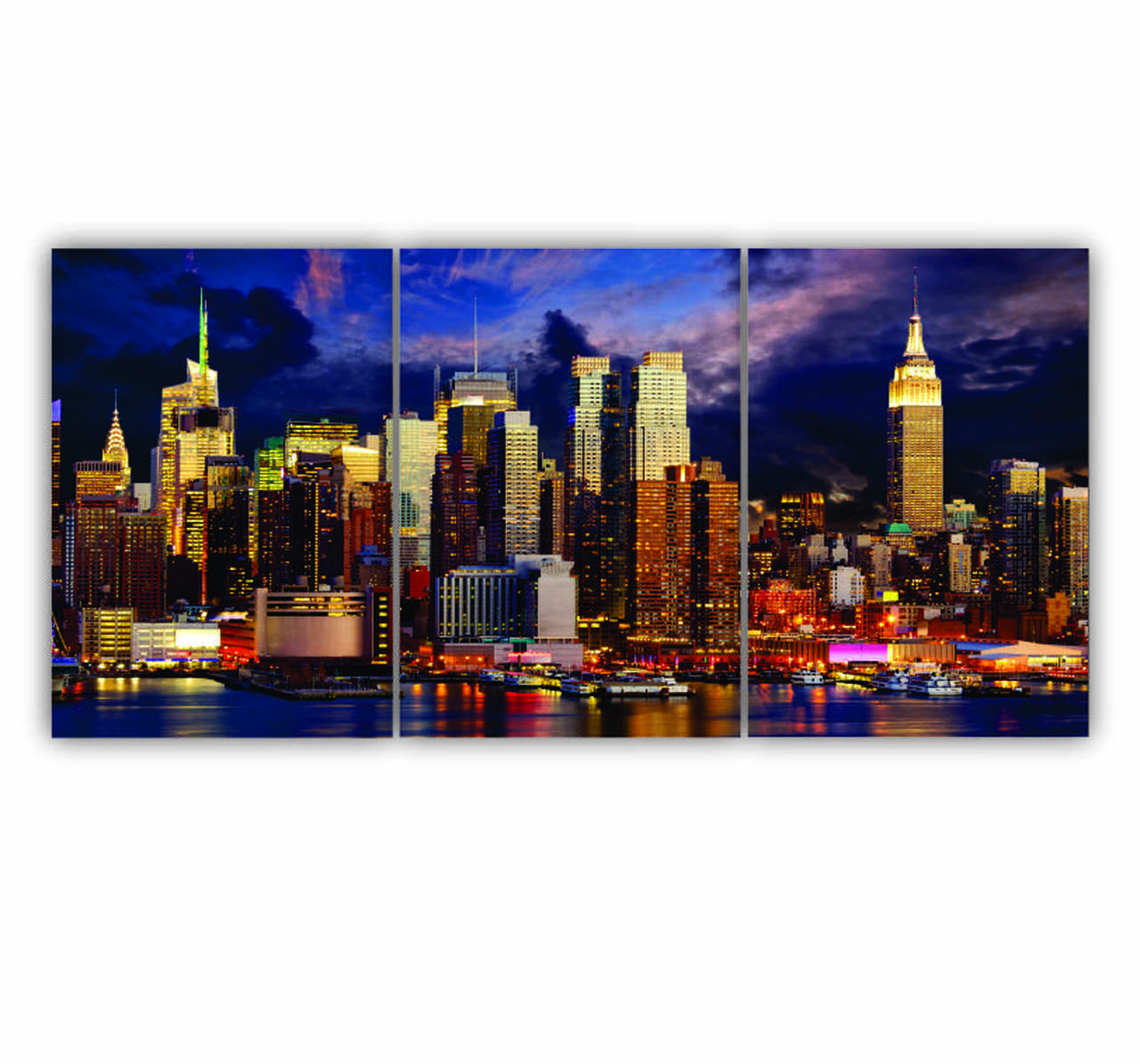 Quadro Vista Nova York Moderno - Kit 3 telas