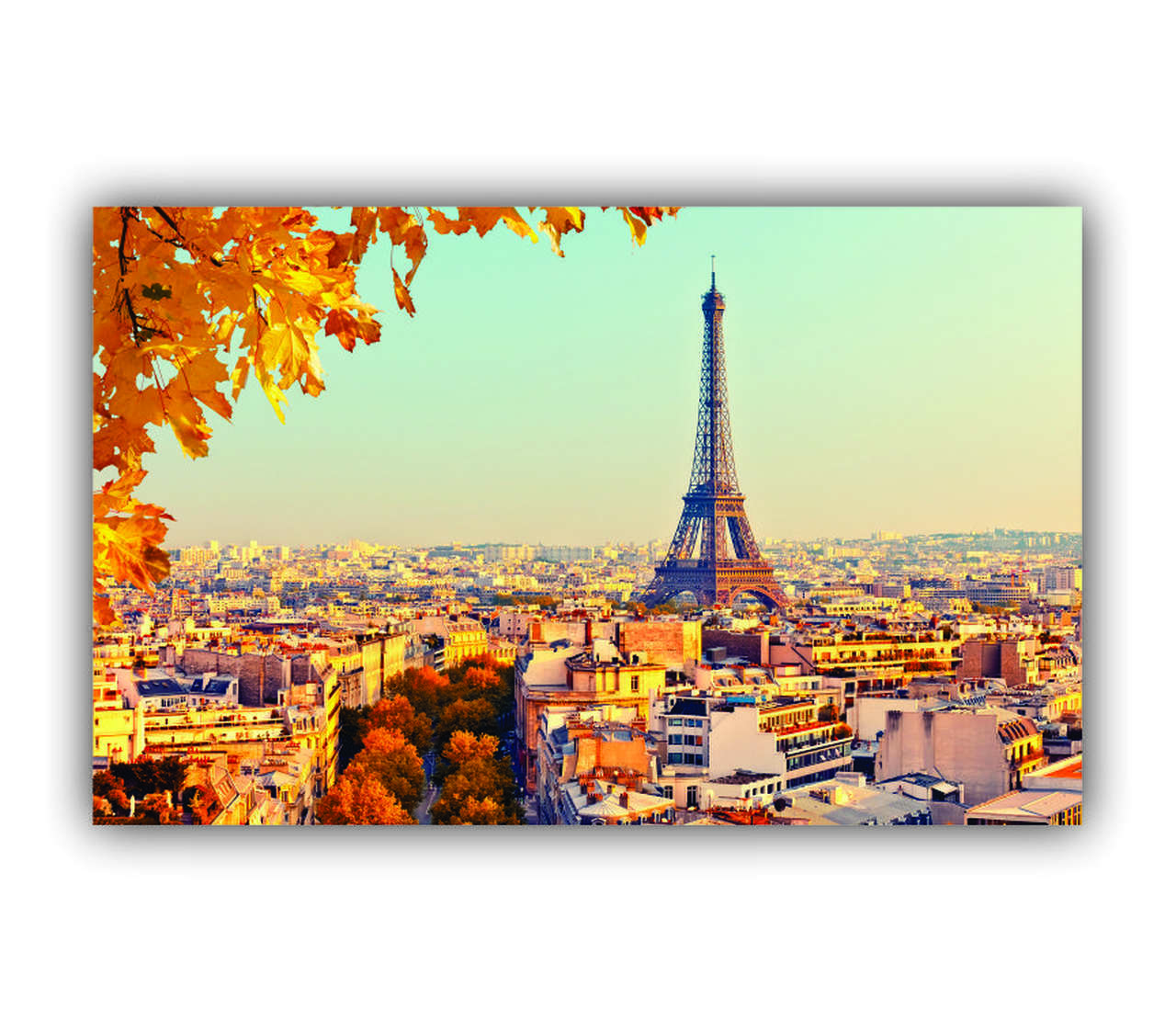 Quadro Vista Paris Flores Amarelas - Tela Única