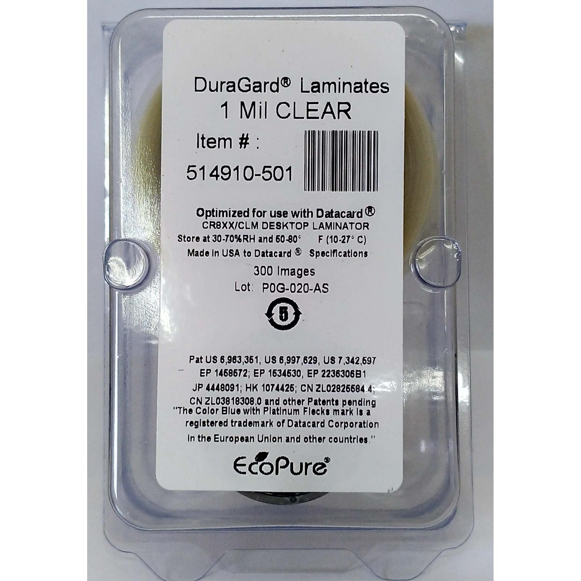 DURAGARD LAMINATE, 1.0 MIL, CLEAR, FULL CARD - CR805 LM