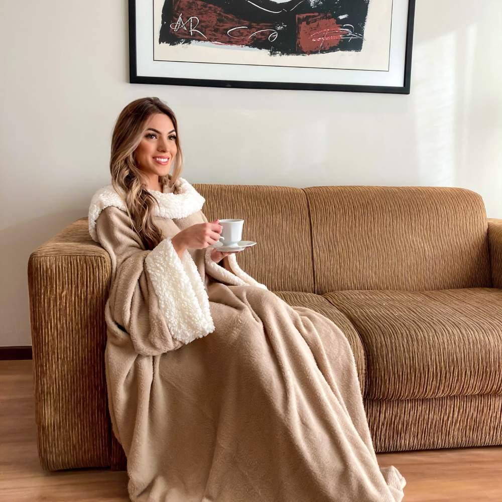 Cobertor com Mangas com Sherpa Aconchego Casa Dona