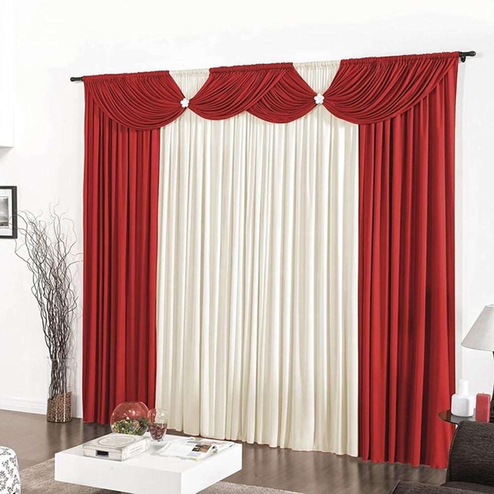 Cortina Casa Dona Luxo Floripa Vermelho com Bege 200x170 cm