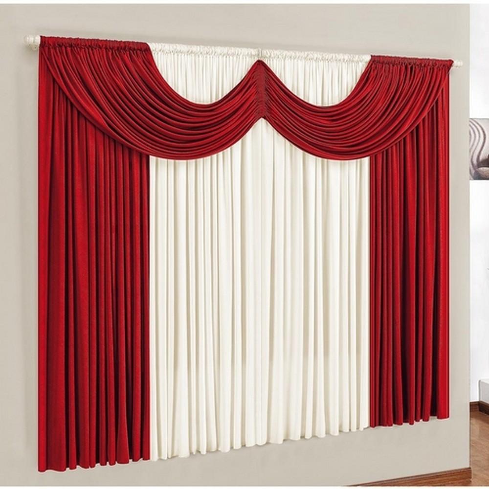 Cortina Corta Luz para Sala e Quarto 4,00m x 2,80m Esmeralda Vermelho Casa Dona