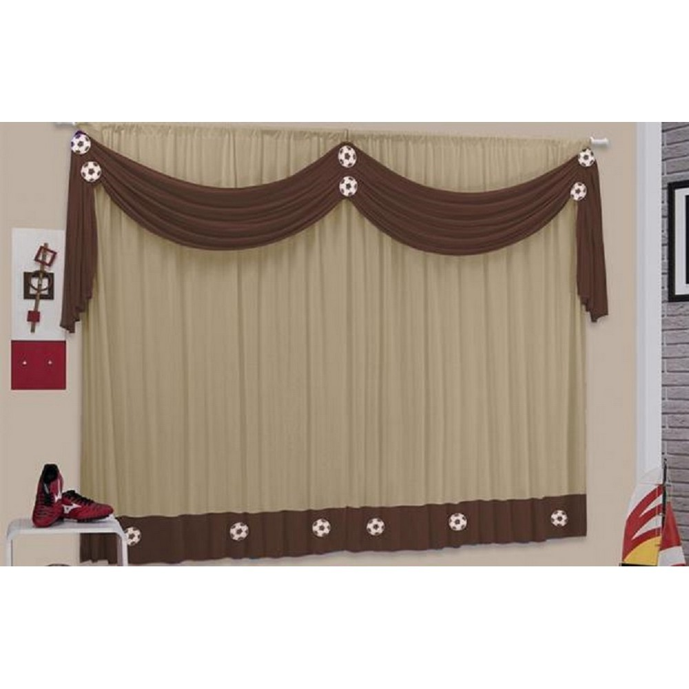 Cortina Happy Ball Casa Dona 200x170 cm Marrom