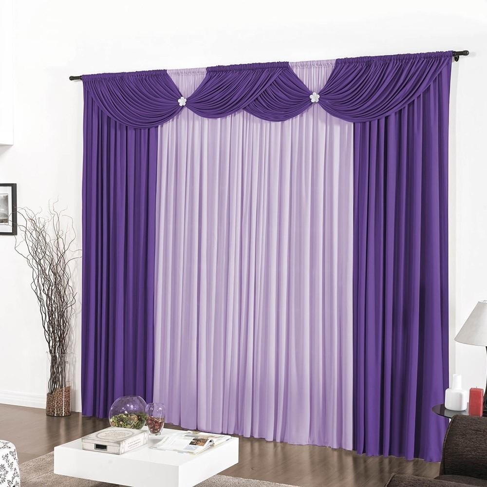 Cortina Corta Luz Sala ou Quarto Purple Soft 4,00m x 2,80m Roxo Casa Dona
