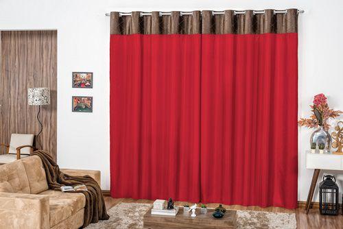 Cortina Corta Luz Versalhes 1,70m x 2,00m Toque Aveludado Vermelho Casa Dona