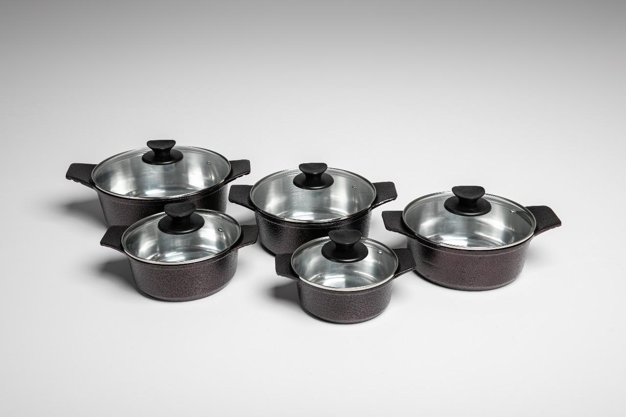 Jogo de Panela Casa Dona Gourmet 5 peças em alumínio Fundido e Tampa de Vidro