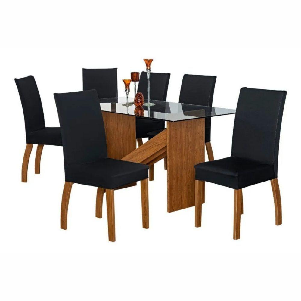 Kit 6 Capas de Cadeira de Jantar Lisa Malha Gel Anti Suor com Elástico Preto Casa Dona