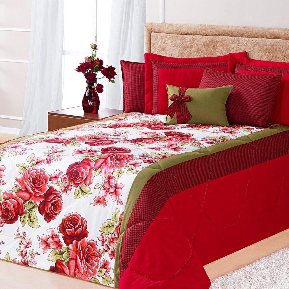 Kit Cobre Leito Casal Queen Savana 7 Peças Floral Vermelho Casa Dona