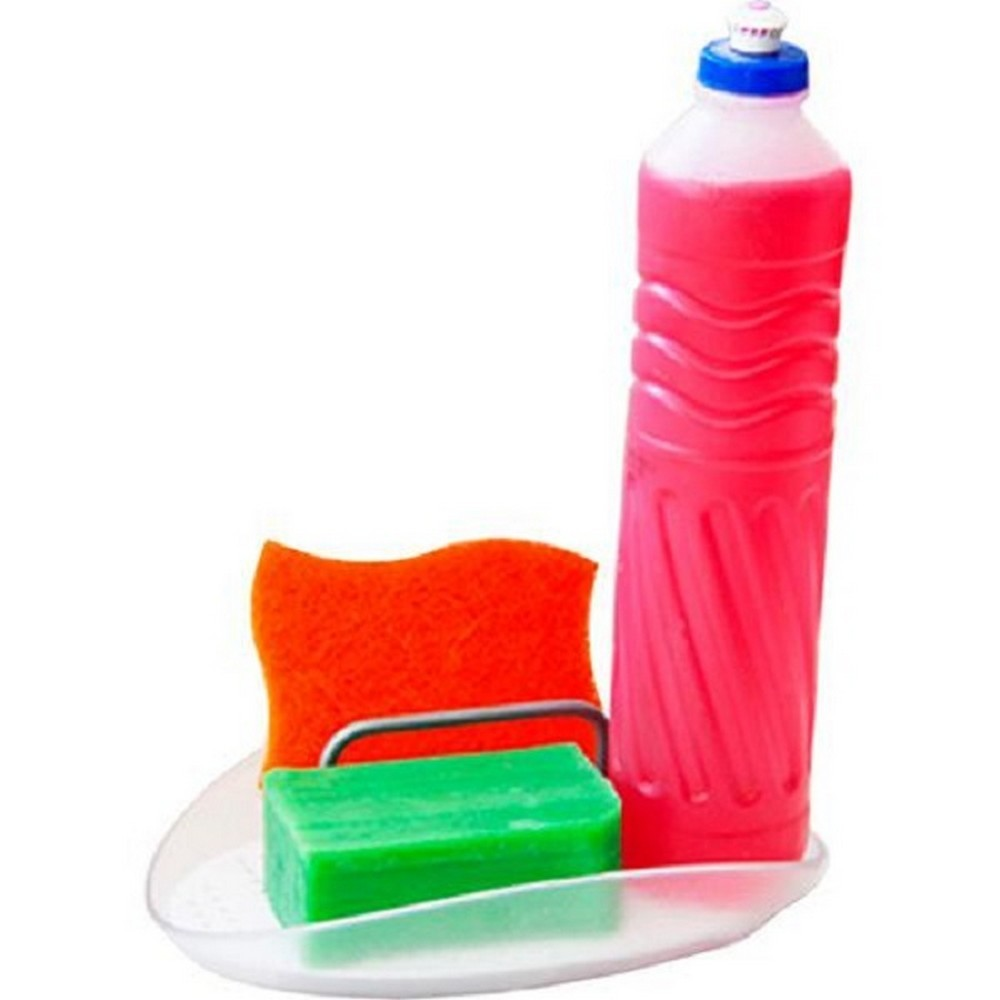 Porta Detergente e Esponja Metaltru M13168-0/1 Transparente