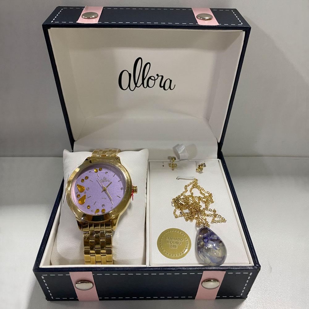 Relógio Allora Vidro de Cristal Mineral + Colar e Brinco Banhado a Ouro 24K  Exclusivo Casa Dona