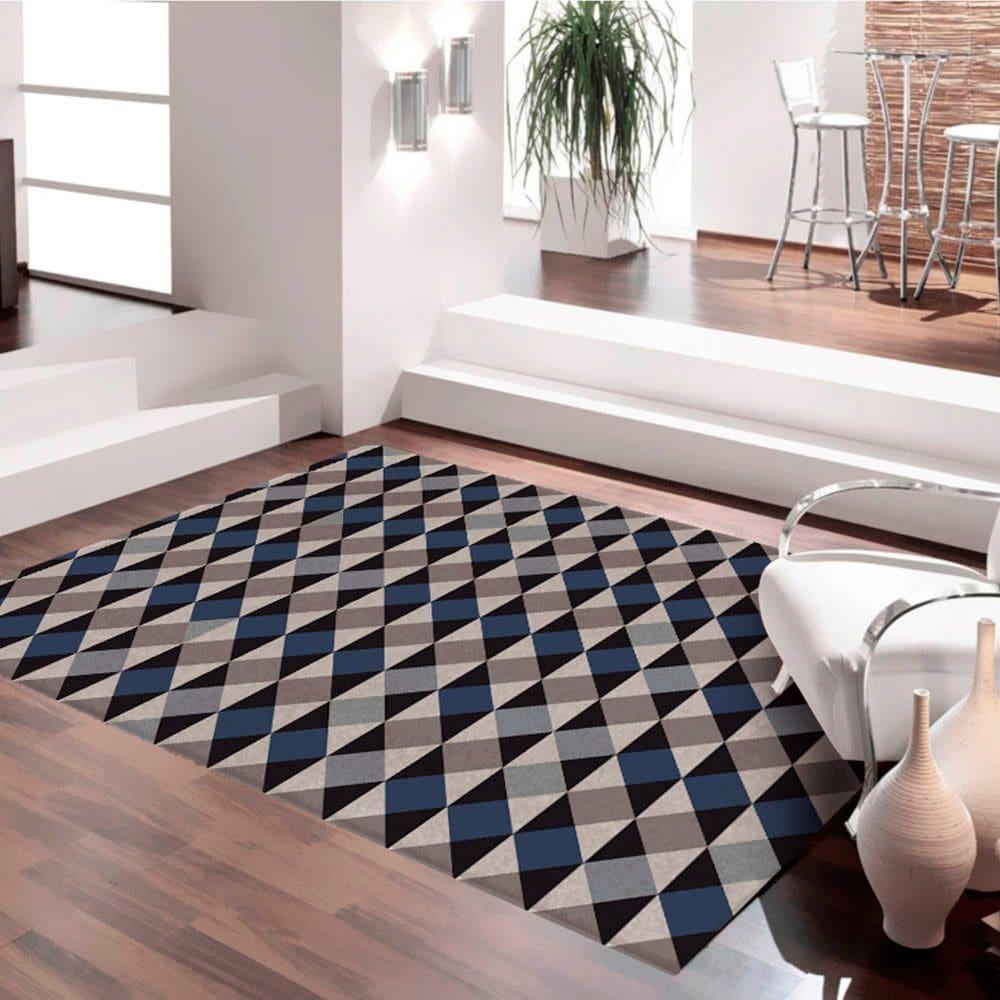 Tapete Antiderrapante Mosaico Casa Moderna 100x140cm Azul Casa Dona