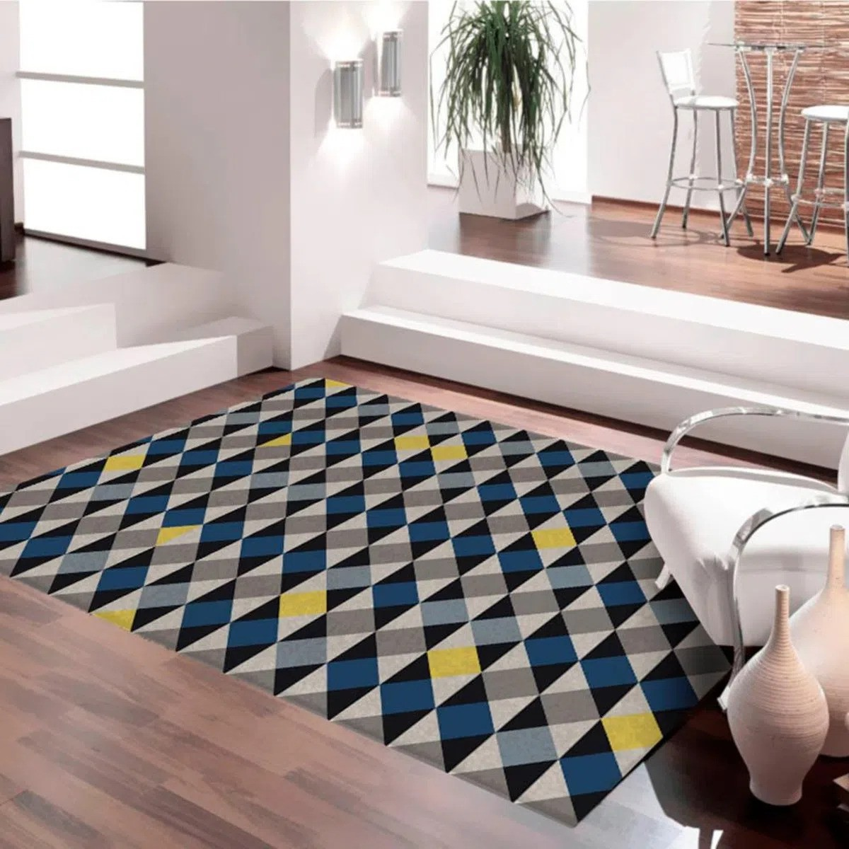 Tapete Antiderrapante Mosaico Casa Moderna 140X200Cm Azul, Amarelo, Bege E Preto Casa Dona