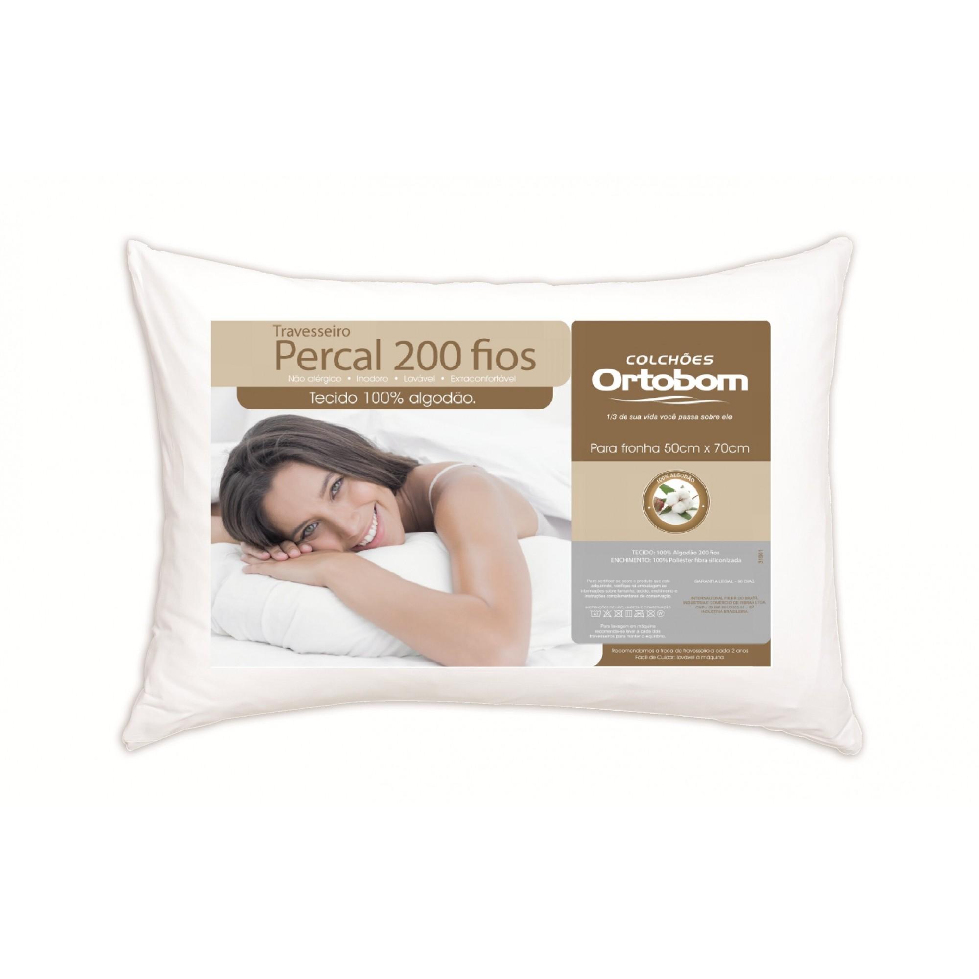 Travesseiro Antialérgico E Antiácaro Algodão 200 Fios Branco Ortobom
