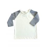 Camiseta Raglan Manga Longa Cinza Infantil Malha Sustentável