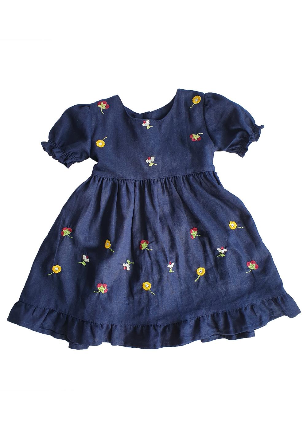 Vestido Infantil Jardim de Linho Bordado