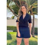 BLAZER CROPPED FEMININO MANGA CURTA PRETO