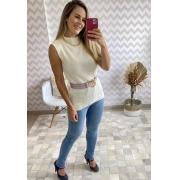 BLUSA MAXI COLETE FEMININO TRICÔ OFF WHITE