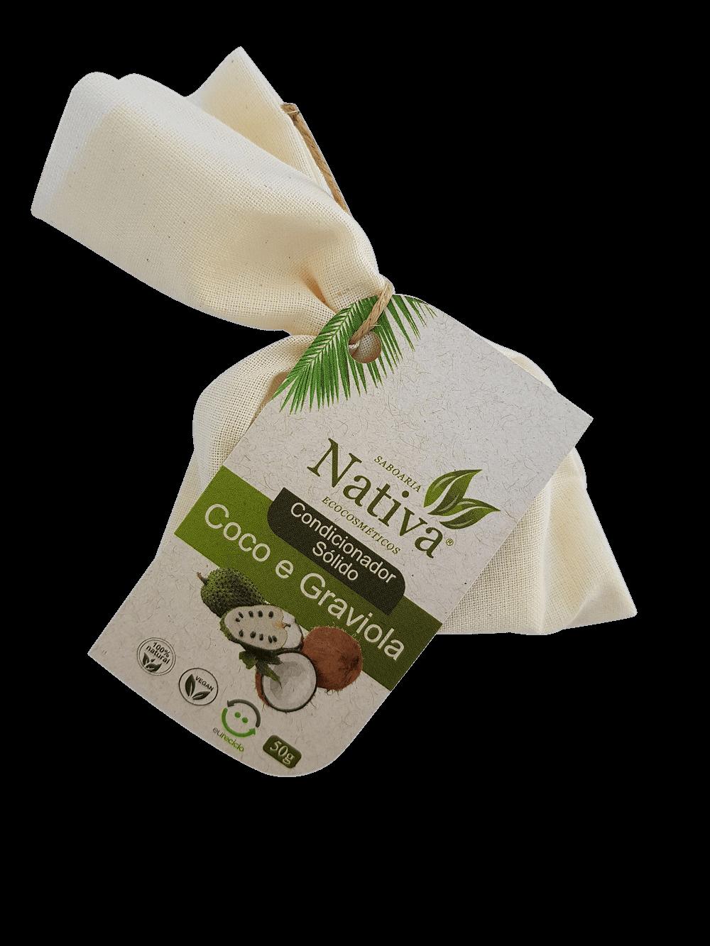 Condicionador Sólido - Graviola e Coco 50g  - Saboaria Nativa Ecocosméticos
