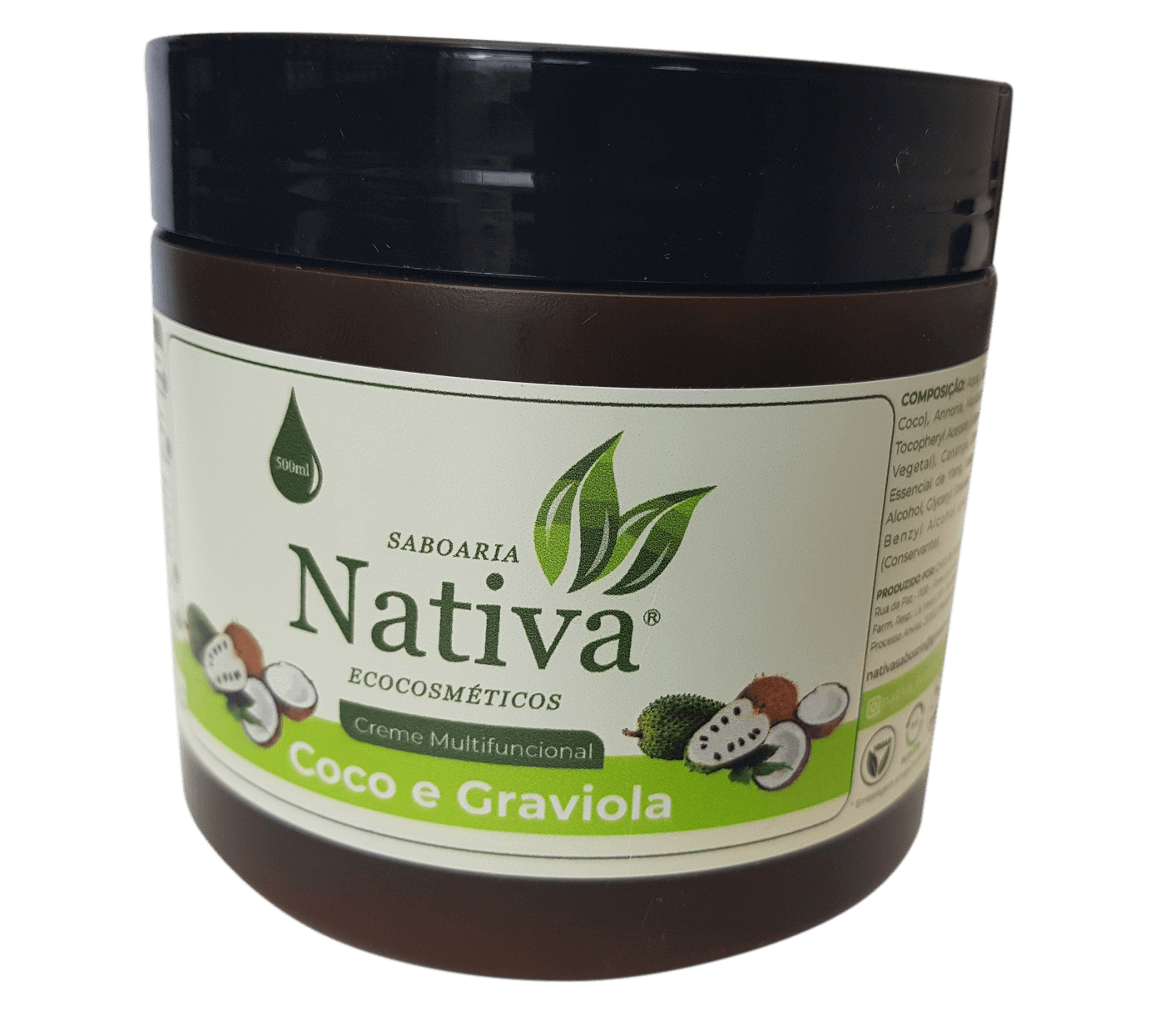 Creme Multifuncional Graviola e Coco - 500ml  - Saboaria Nativa Ecocosméticos
