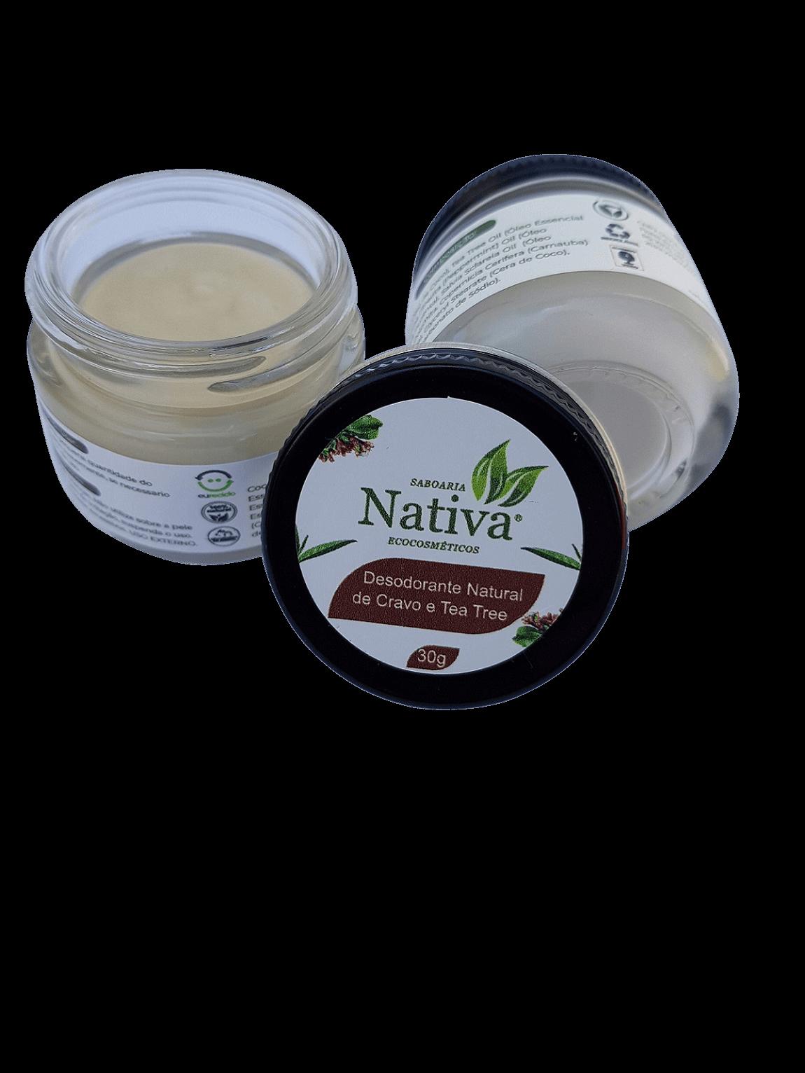 Desodorante Natural - Cravo e Tea Tree 30g  - Saboaria Nativa Ecocosméticos