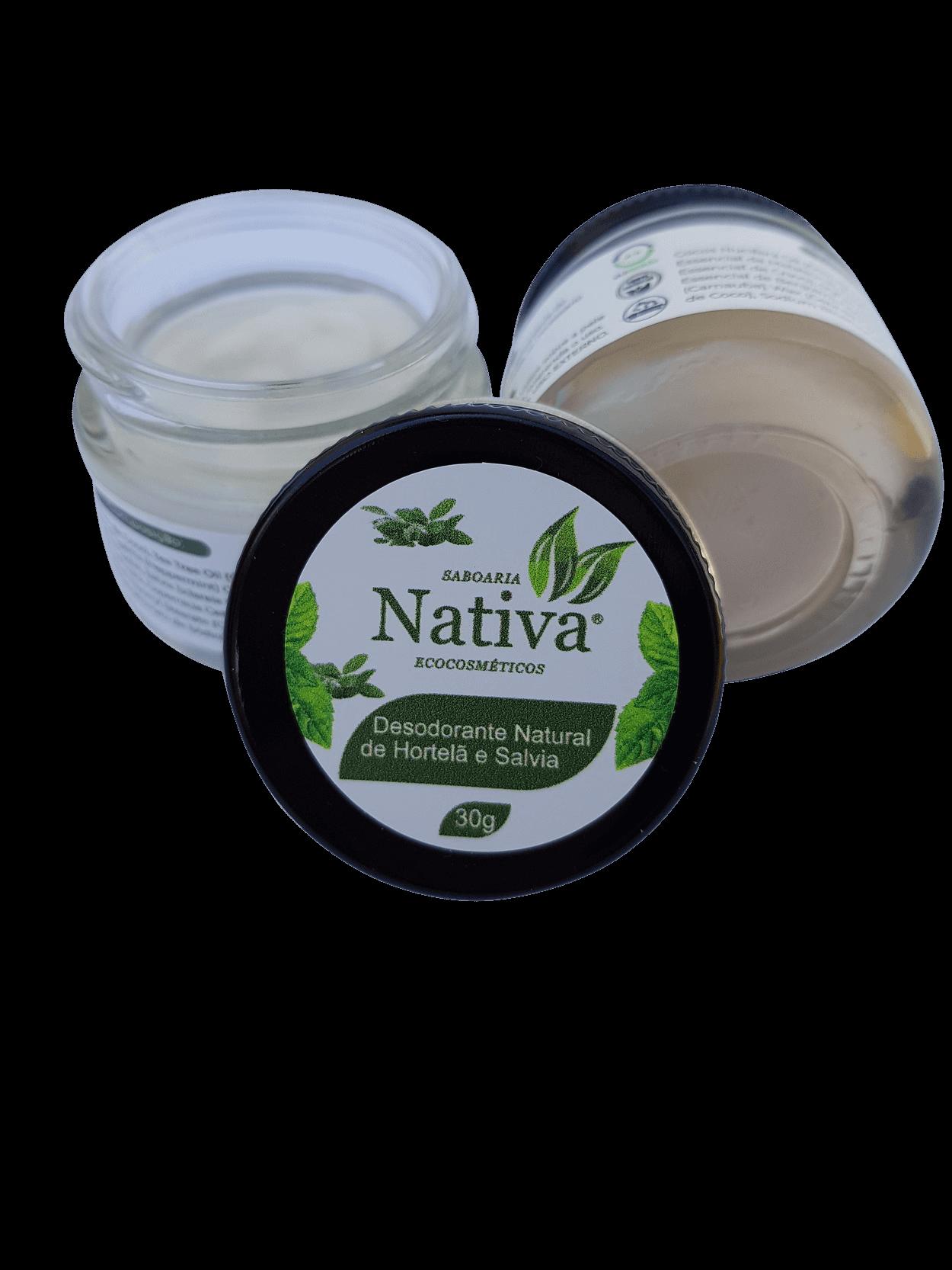 Desodorante Natural - Hortelã Pimenta e Sálvia 30g  - Saboaria Nativa Ecocosméticos