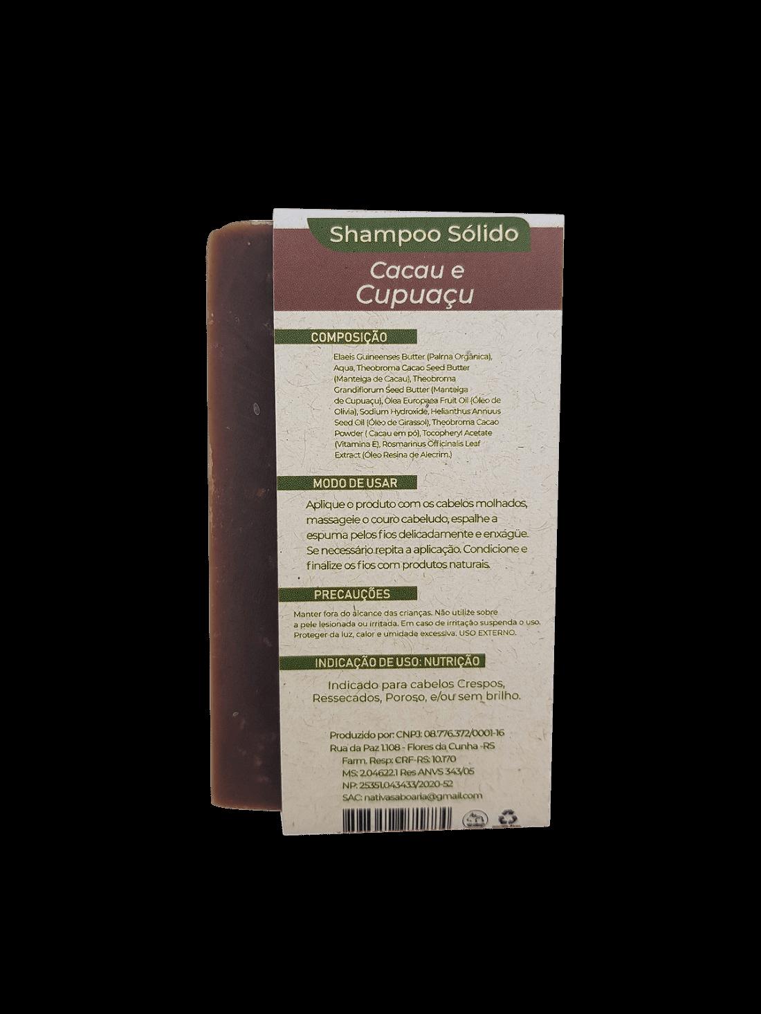 Shampoo Sólido - Cacau e Cupuaçu  - Saboaria Nativa Ecocosméticos